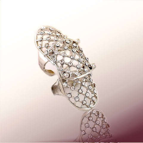 Rhinestone covered Crystal Hollow Out Armor Knuckle Ring