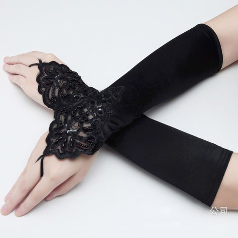 Free Shipping Black Bridal Glove Wedding Gloves Lace fingerless Wedding Satin Lace Beads Fingerless Bridal Gloves