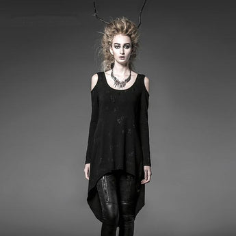 Gothic Punk Rock Black Long Top/Cardigan Style Tee Shirt