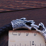 Leather Bracelet with Double Dragon Heads.