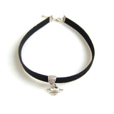 Flat Faux Suede Cord Choker Necklace with Saturn Pendant