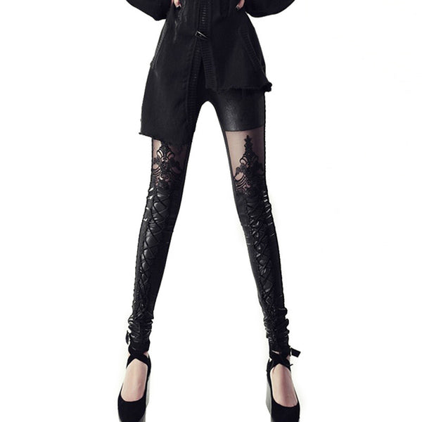 Faux Leather Leggings with Lace/Lace Up Decoration