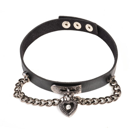 Goth Punk Black Leather Choker Necklace