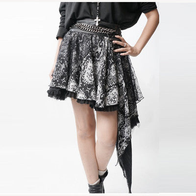 Asymmetric Punk Rock Skirt with Leopard Print and Rivet Chain