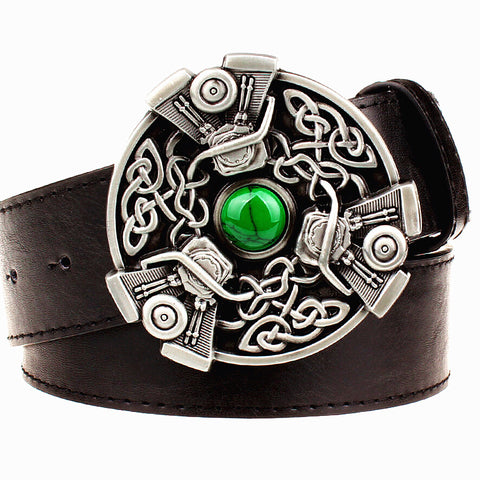 Retro faux leather belt with Celtic Knot Metal Buckle