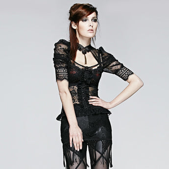 Gothic Victorian Blouse with Black Lace