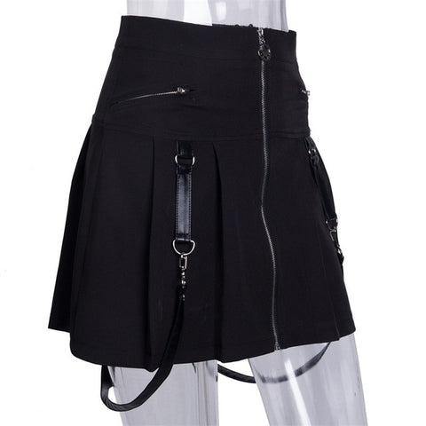 Punk Gothic A Line Skirt with Zippers
