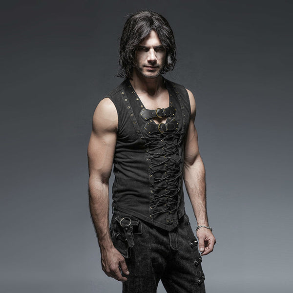 Men's Black Steampunk/Goth/Street Punk top/vest