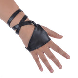 Gothic/Punk Rock Black Faux Leather Gloves