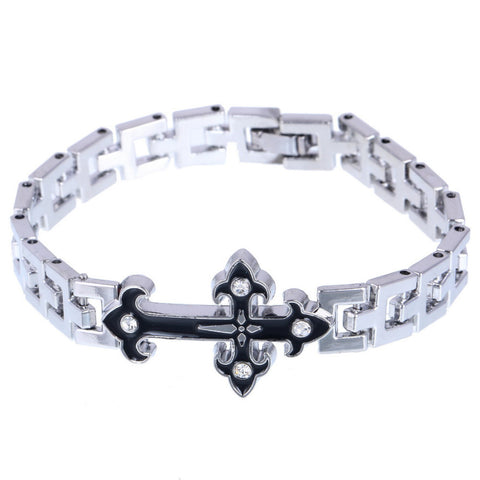 Box Chain Bracelet with Knight Templar's Cross