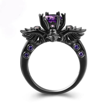Black Vintage Ring with Purple Cubic Zirconia Stone
