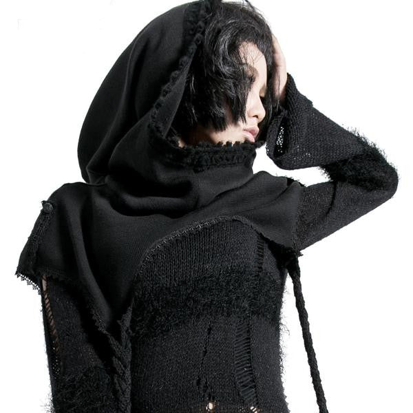 Street Punk / Gothic Black Scarf with Hood - wrap Knit