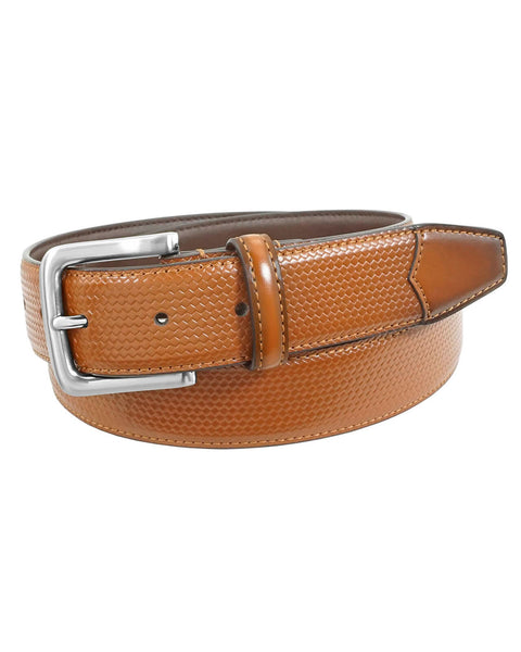 Florsheim Marshall Embossed Weave Belt in Cognac - Rainwater's