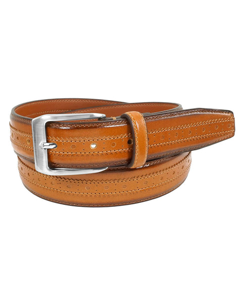 Florsheim Boselli Center Brogue Belt in Cognac - Rainwater's