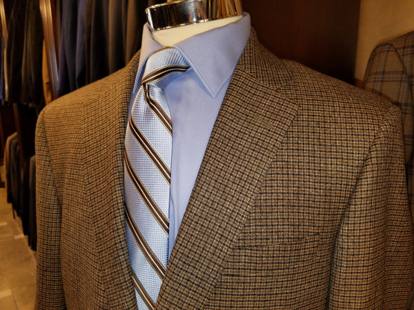 Brown, Black & Grey Houndstooth 100% Wool Sport Coat - Rainwater's Men's Clothing and Tuxedo Rental