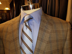 Grey Brown With Blue Windowpane 100% Wool Sport Coat - Rainwater's Men's Clothing and Tuxedo Rental