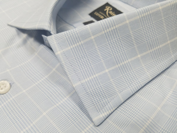Rainwater's 120's Two Ply Glen Plaid Dress Shirt in Blue - Rainwater's Men's Clothing and Tuxedo Rental