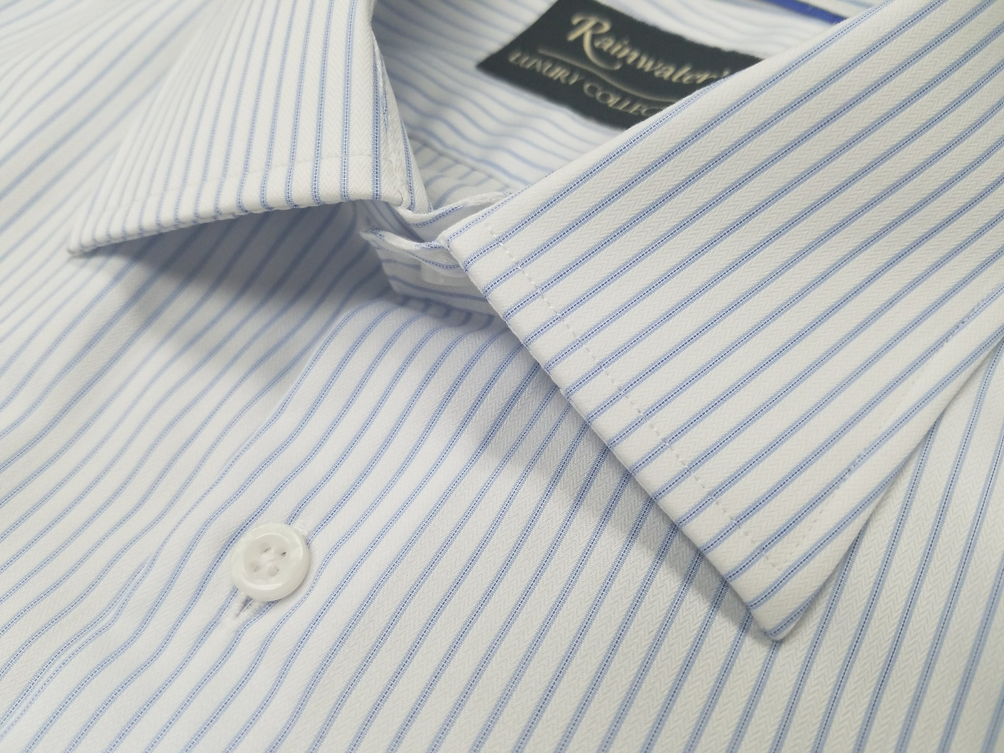 Rainwater's 100's 100% Cotton White Blue Striped Spread Collar Dress Shirt - Rainwater's Men's Clothing and Tuxedo Rental