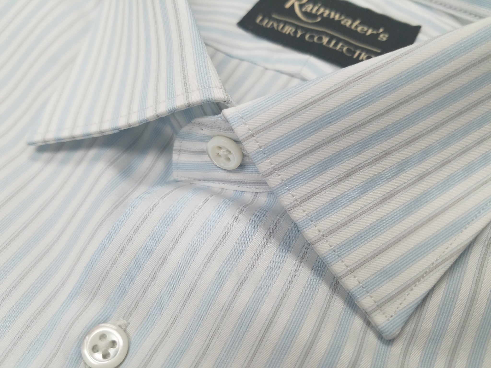 Rainwater's Luxury Collection White and Blue Stripe Dress Shirt - Rainwater's Men's Clothing and Tuxedo Rental