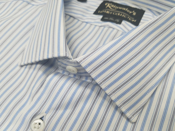 Rainwater's Luxury Collection White with Blue and Grey Stripe Dress Shirt - Rainwater's Men's Clothing and Tuxedo Rental
