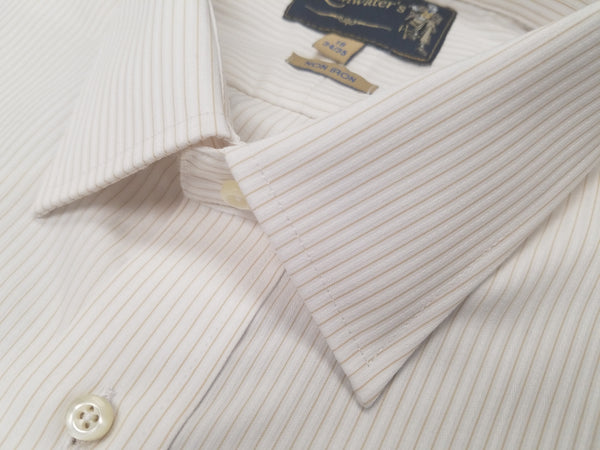 Rainwater's 100% Cotton Non-Iron White with Gold Stripe Dress Shirt - Rainwater's Men's Clothing and Tuxedo Rental