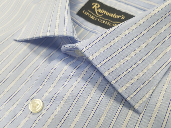 Rainwater's Luxury Collection Light Blue Striped Dress Shirt - Rainwater's Men's Clothing and Tuxedo Rental