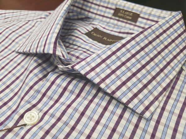 Dean Rainwater's 100% Cotton Purple and Light Blue Check Dress Shirt - Rainwater's Men's Clothing and Tuxedo Rental