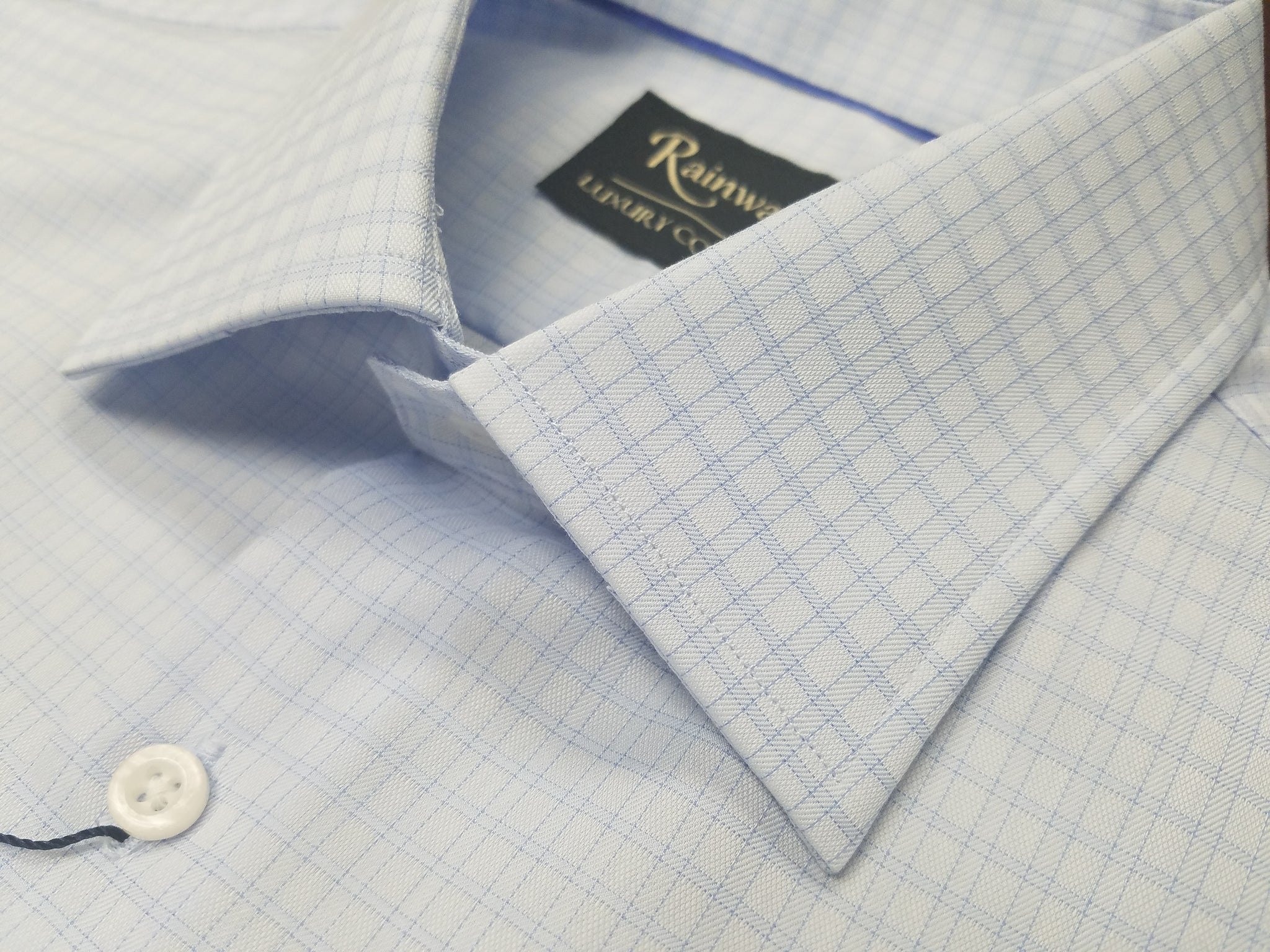Rainwater's 100% Cotton 100's Two Ply Light Blue Small Check Spread Collar Dress Shirt - Rainwater's Men's Clothing and Tuxedo Rental