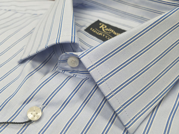 Rainwater's Luxury Collection 100% Cotton Blue Stripe French Cuff Dress Shirt - Rainwater's Men's Clothing and Tuxedo Rental