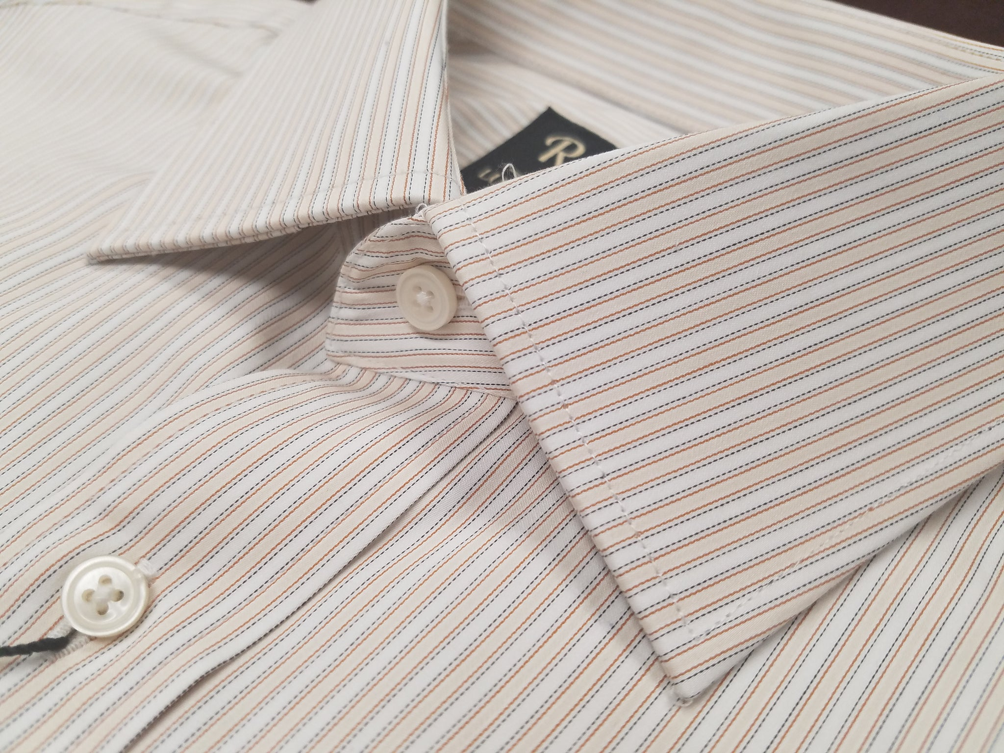Rainwater's Luxury Collection 100% Cotton Tan Stripe French Cuff Dress Shirt - Rainwater's Men's Clothing and Tuxedo Rental