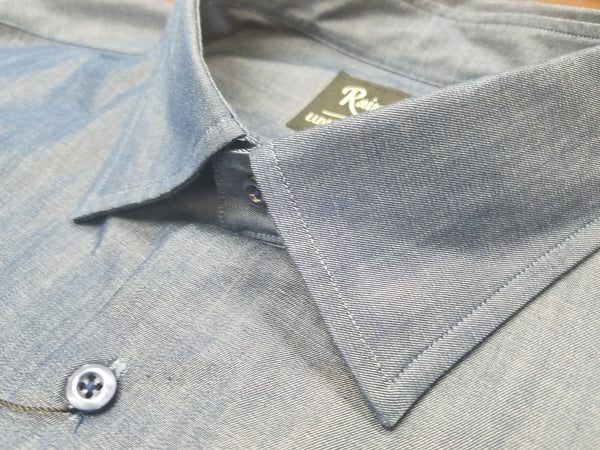 Rainwater's Denim Hidden Button Down Denim Dress Shirt - Rainwater's Men's Clothing and Tuxedo Rental