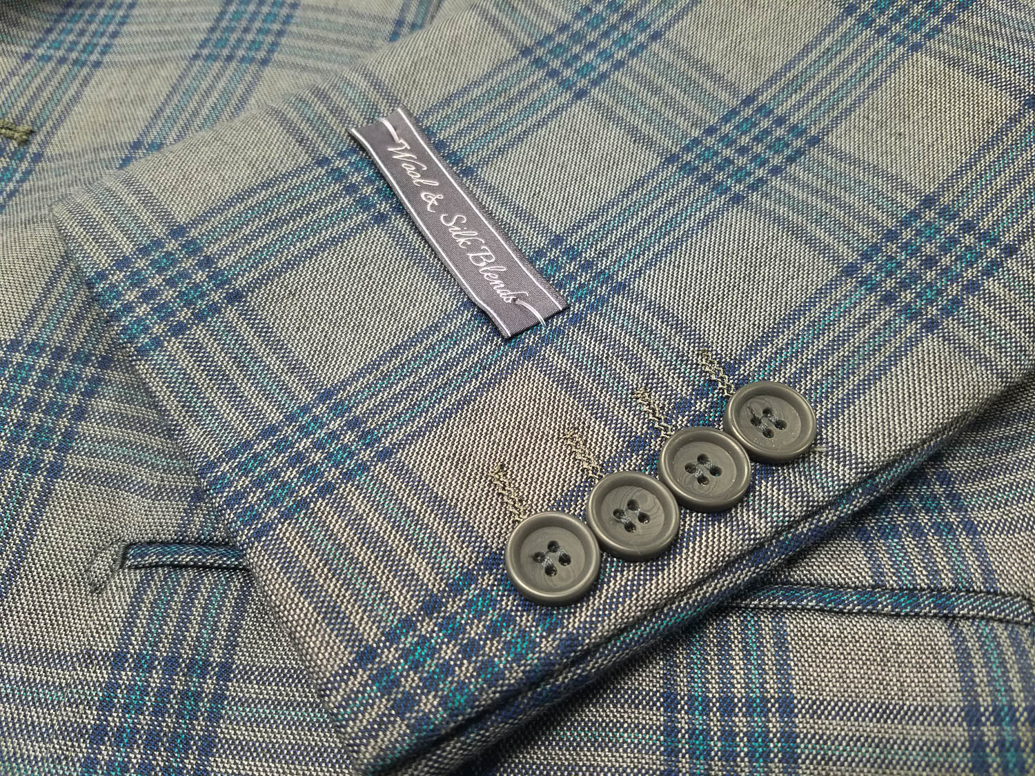 Rainwater's Grey With Blue Plaid Super 140's Wool Sport Coat - Rainwater's Men's Clothing and Tuxedo Rental