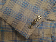 Rainwater's Luxury Collection Brown & Blue Plaid Super 150's Wool Sport Coat - Rainwater's Men's Clothing and Tuxedo Rental