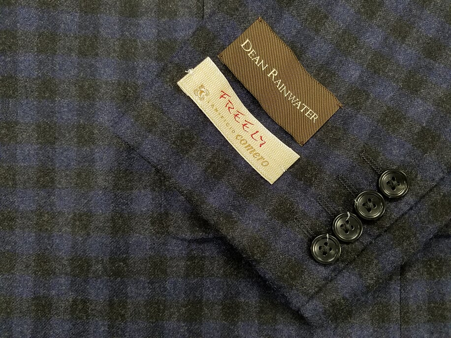 Lanificio Comero Flannel Italian Wool Blue Grey Check Sport Coat - Rainwater's Men's Clothing and Tuxedo Rental