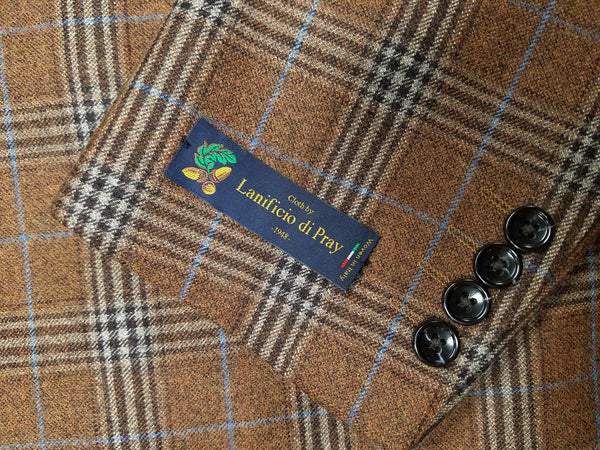 Lanificio di Pray Rust Plaid Super 150's Wool Sport Coat - Rainwater's Men's Clothing and Tuxedo Rental