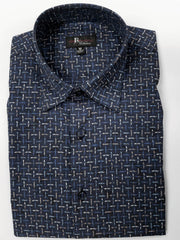 Jon Randall Collection Navy Basket Weave Print Sport Shirt - Rainwater's Men's Clothing and Tuxedo Rental