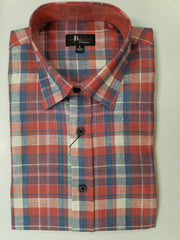 Jon Randall Collection Blue and Peach Plaid Sport Shirt - Rainwater's Men's Clothing and Tuxedo Rental