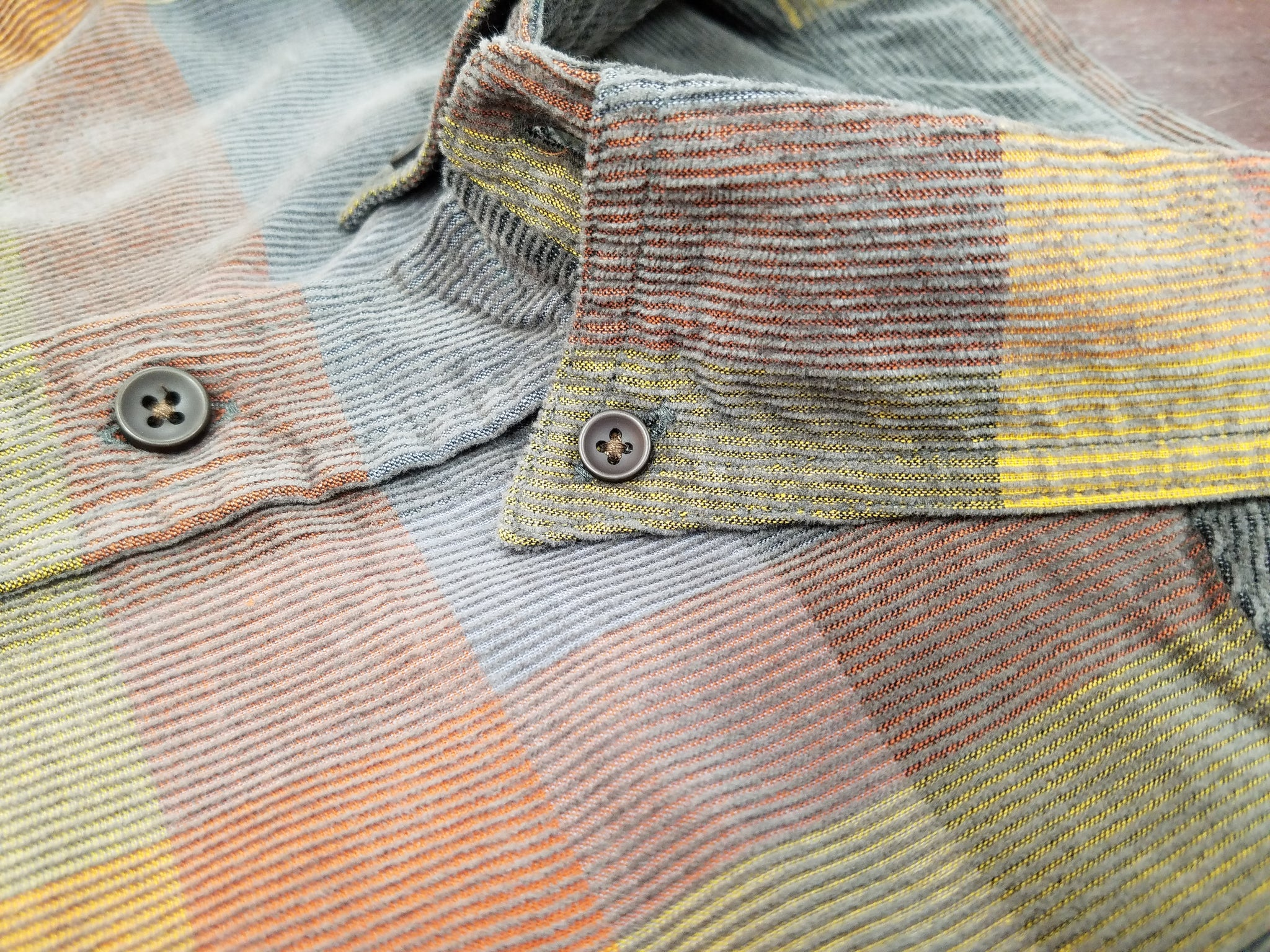 Washed Corduroy With Button Down Collar Sport Shirt In Grey & Multi Color Plaid Button Up Long Sleeve Shirt - Rainwater's