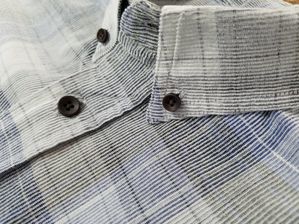 Indigo & Grey Plaid Button Up Long Sleeve Shirt
