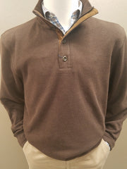 1/4 Zip With Buttons Brushed Elbow Patch Pullover Knit in Brown - Rainwater's Men's Clothing and Tuxedo Rental