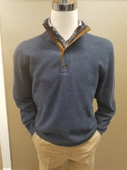 1/4 Zip With Buttons Brushed Elbow Patch Pullover Knit in Denim Blue - Rainwater's Men's Clothing and Tuxedo Rental