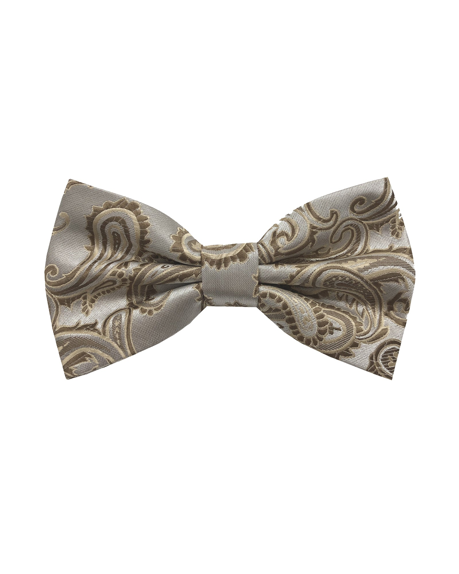 Bow Tie In Paisley Pattern Champagne & Brown - Rainwater's