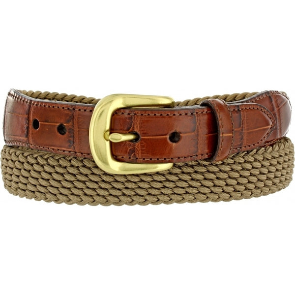 Brighton Braided Stretch Belt with Croco Leather in Khaki - Rainwater's