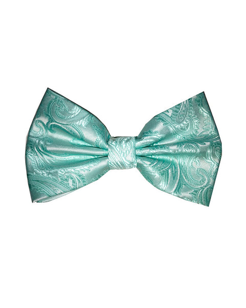 Bow Tie In Paisley Pattern Aqua - Rainwater's Men's Clothing and Tuxedo Rental