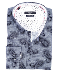 Grey With Black Paisley Sport Shirt - Rainwater's Men's Clothing and Tuxedo Rental