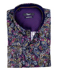 Black With Multi-Colored Paisley Sport Shirt - Rainwater's Men's Clothing and Tuxedo Rental