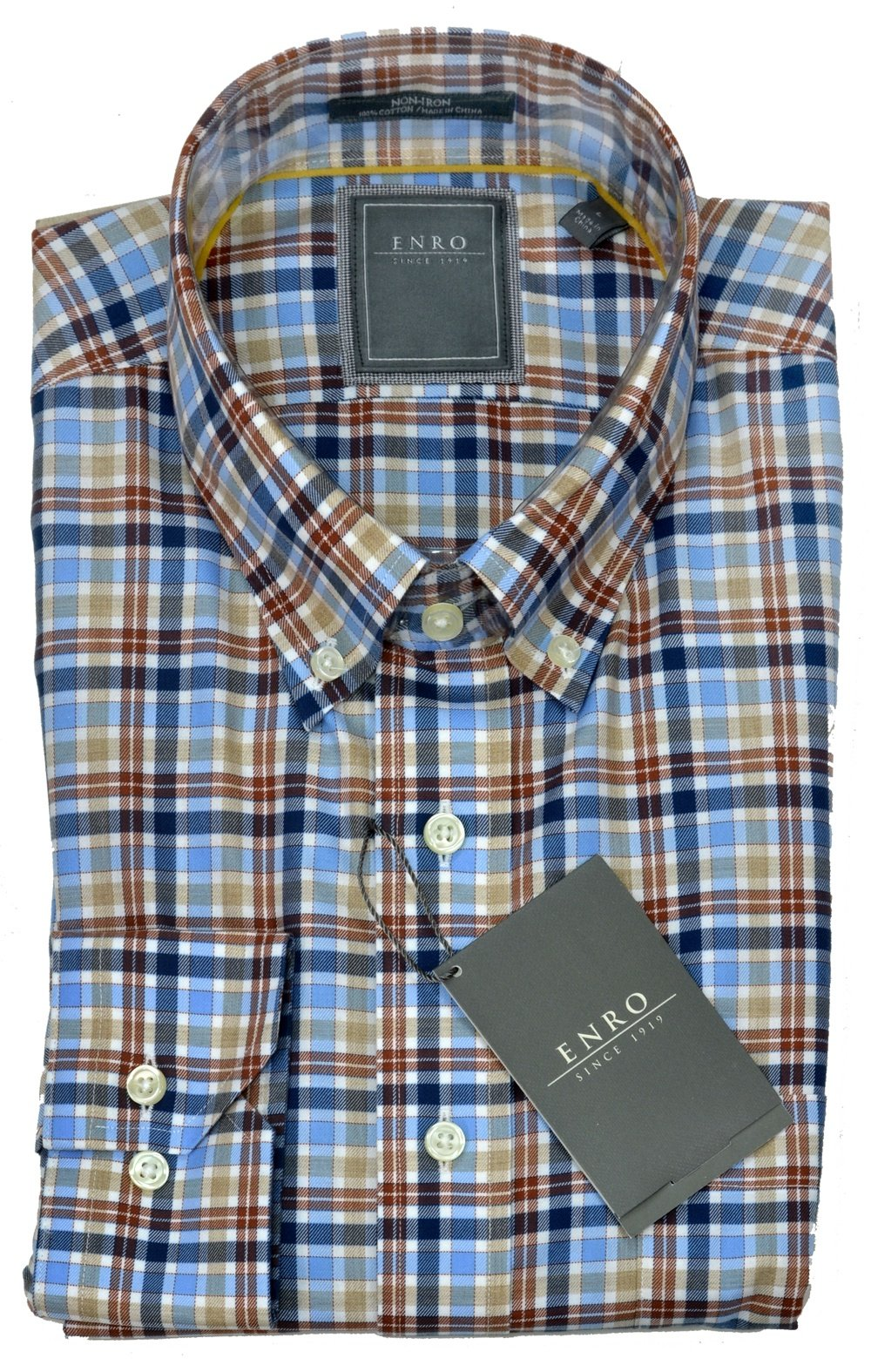 Enro Tan Multi Plaid Buttondown - Rainwater's Men's Clothing and Tuxedo Rental