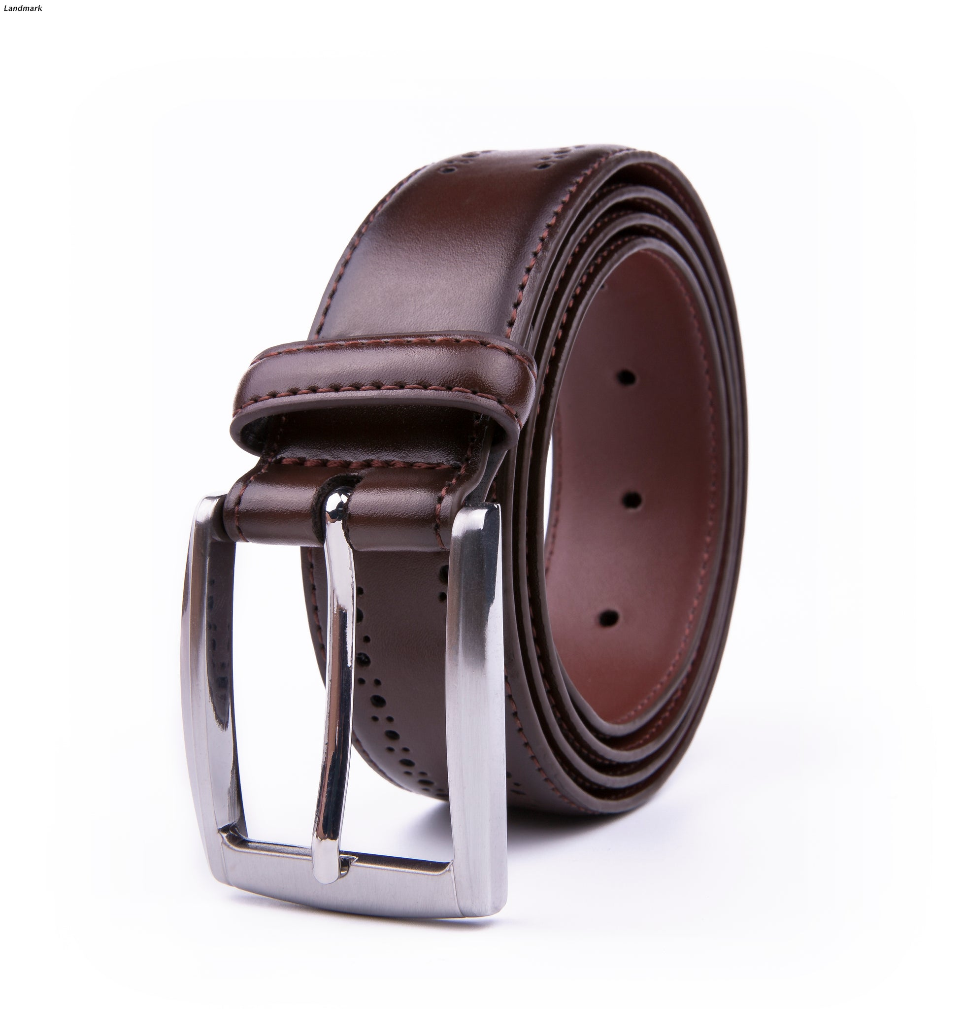 Perforated Brown Leather Belt - Rainwater's Men's Clothing and Tuxedo Rental