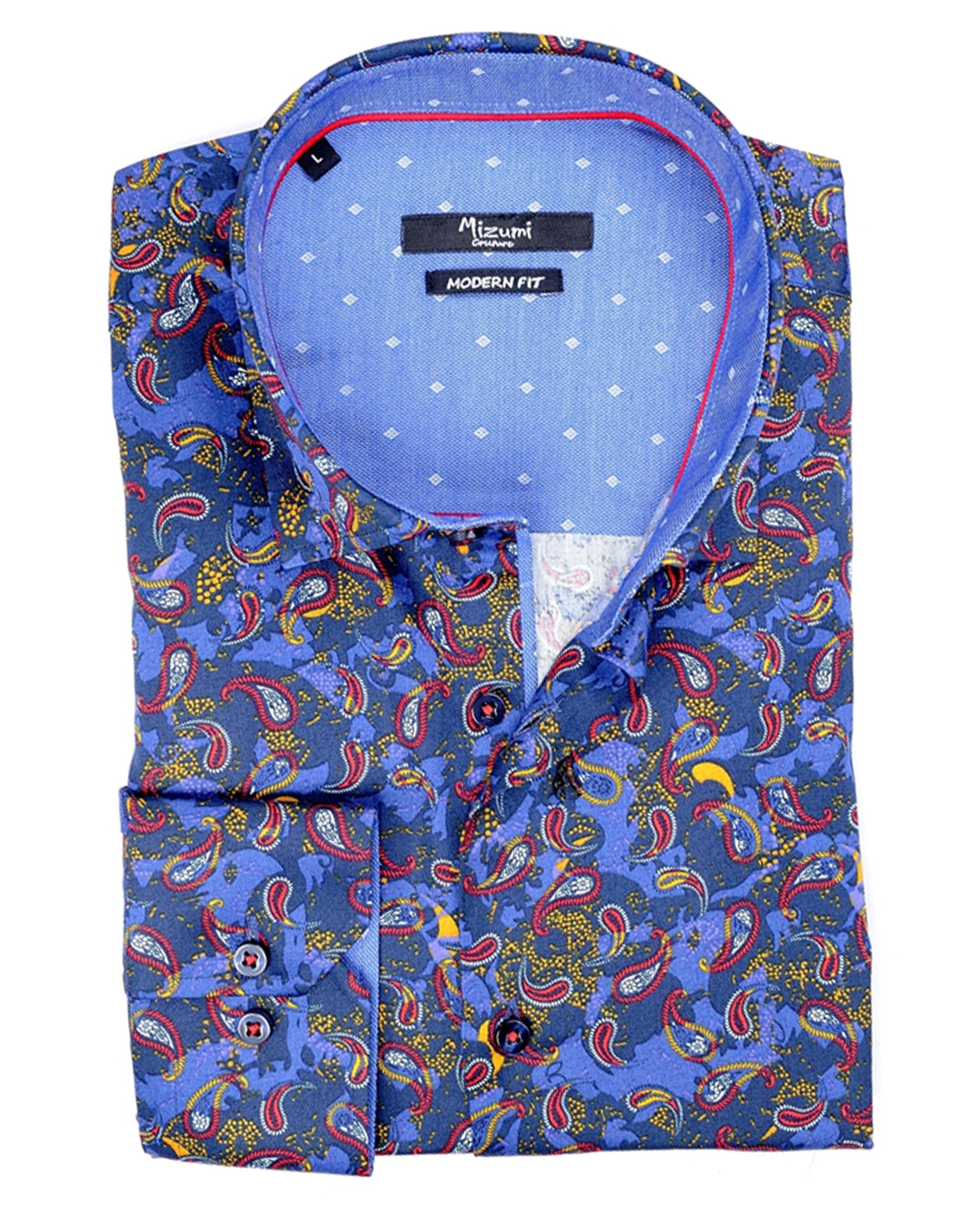 Navy With Multi-Colored Paisley Sport Shirt - Rainwater's Men's Clothing and Tuxedo Rental