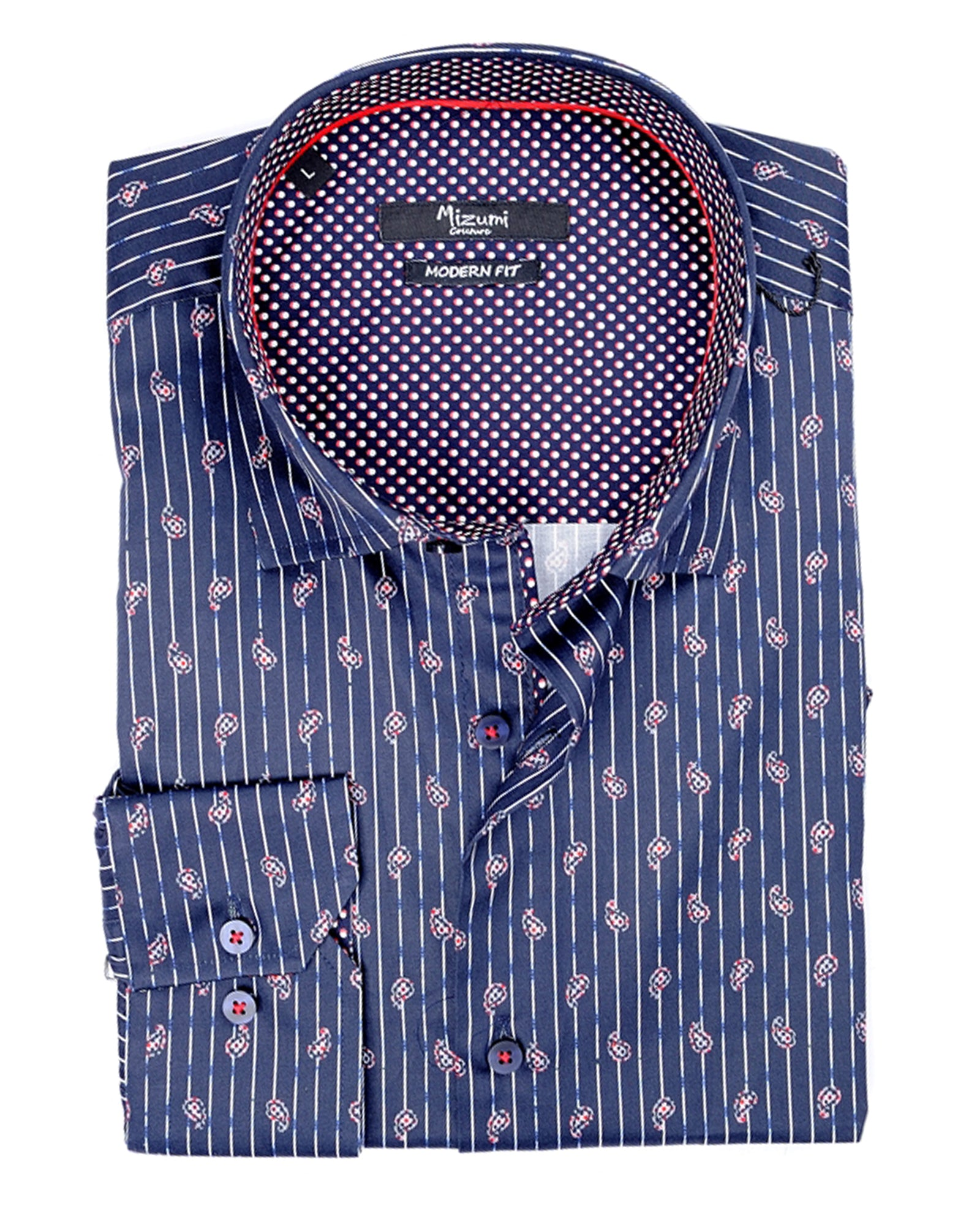 Navy Paisley Stripe Sport Shirt - Rainwater's Men's Clothing and Tuxedo Rental